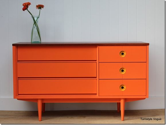 Great idea to spruce up retro furniture, wondering of it would look good in a different color.