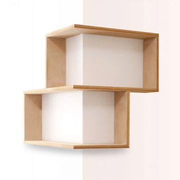 Amey Wooden Column Wall Shelf Teak More
