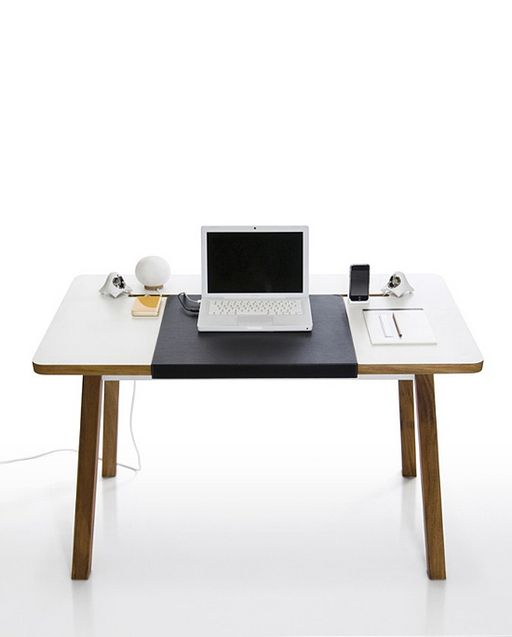 StudioDesk by Bluelounge. #workplace: Cable Organizations, Studios Desks, Small Offices, Design Desks, Blueloung Studiodesk, Get Organizations, Desks Ideas, Blue Lounges, Clutter Free