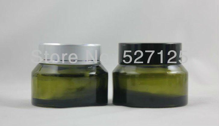 50pieces/lot High quality 50g green cream jar,cosmetic jar,glass jar or cream container,eye cream jar