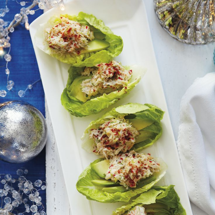 Avocado and crab lettuce cups recipe works as a Christmas nibble or light Christmas starter