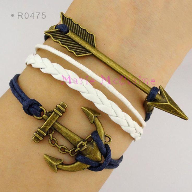 Морской якорь стрелка браслет парусный спорт тема синий навощенные шнур хлопка белый кожаный оплетка браслет - настраиваемые