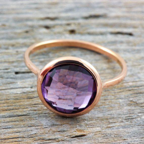 14K rose gold ring amethyst gemstone natural by KyklosJewelryLab