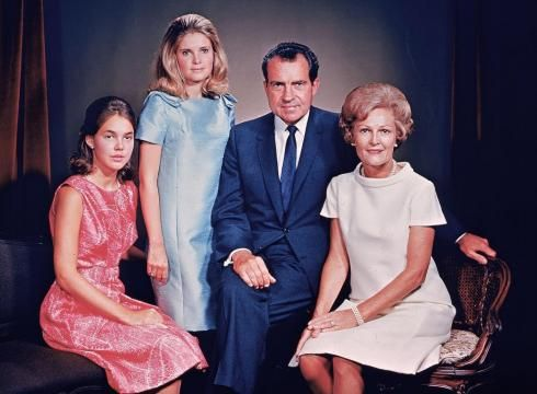 President Richard Nixon with his  girls Julie Nixon (Eisenhower) and Tricia Nixon (Cox). and wife Pat