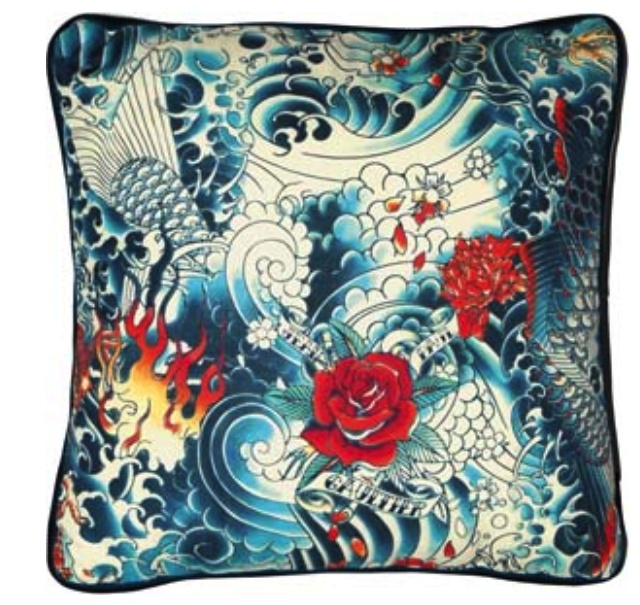 Cushion by Lelievre, fabric Rock Bengale by Jean Paul Gaultier.