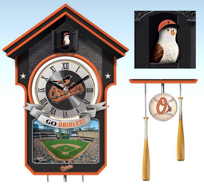 Baltimore Orioles Cuckoo Clock Featuring Bird With Baseball Cap