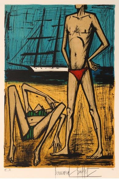 """Lithograph by Bernard Buffet (1928-1999), 1979, """"Baigneuse a Pampelonne"""", Studio Mourlot, Paris."""