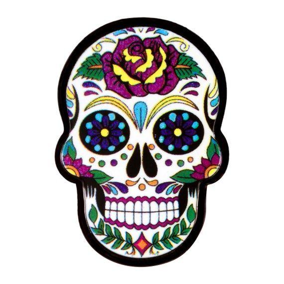 Sugar Skull Enamel Lapel Pin Dia De Los Muertos Calavera Day Etsy Skull Sticker Skull Sugar Skull Art
