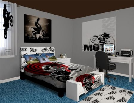 37 best images about michael room on pinterest spider for Dirt bike bedroom ideas