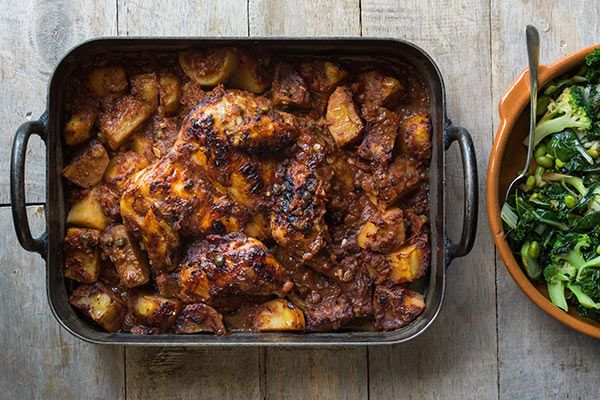 Ray McVinnie's Roasted tomato chicken, potatoes and fried greens