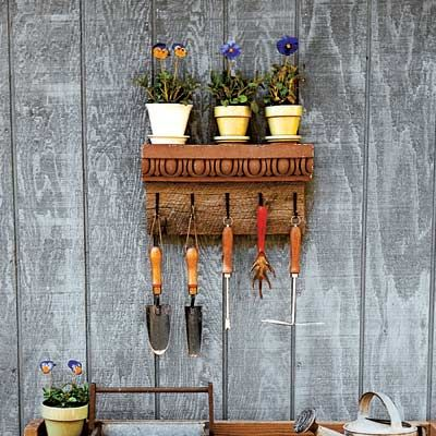 How to turn a cornice into a beautiful garden tool holder. | thisoldhouse.com