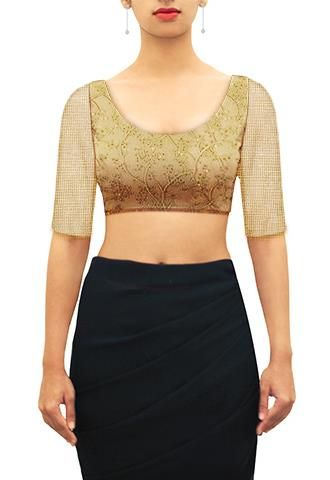 Wide U neck blouse.Customize further or Design your own now on houseofblouse.com #saree #blouse #sareeblouse #blousedesigns #desi #indianfashion #india #gold #net