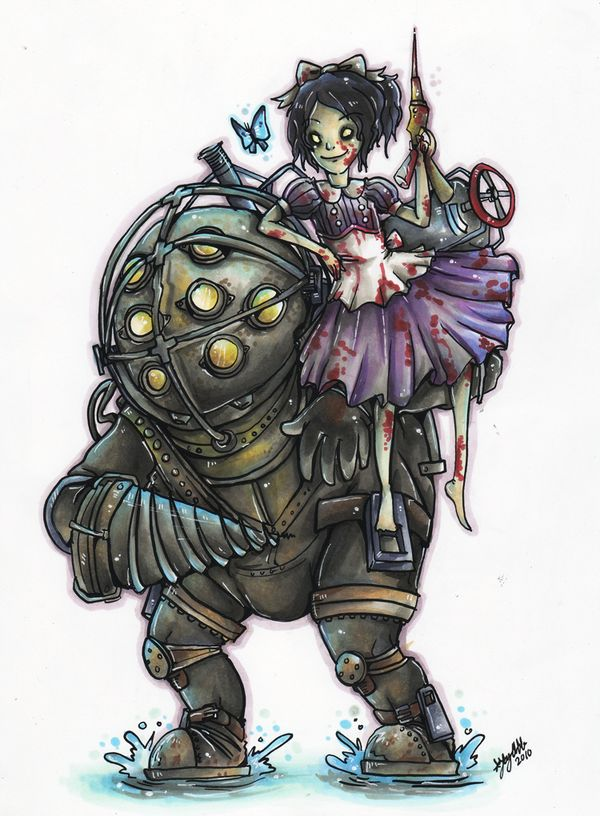Big Daddy and Little Sister by ohmonah.deviantart.com on @deviantART