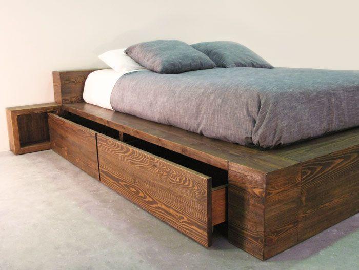 Cama de madera maciza con cajones pinteres - Hacer una cama de madera ...