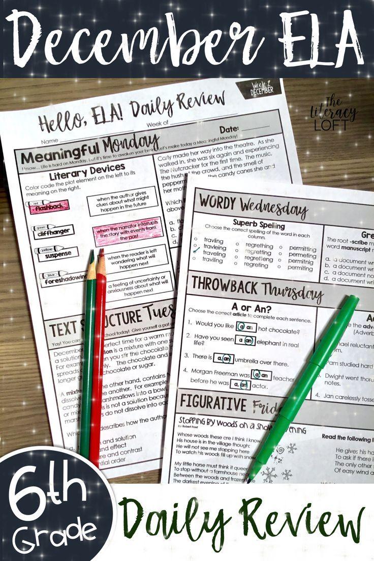 ELA Daily Review 6th Grade {December}   TpT Language Arts
