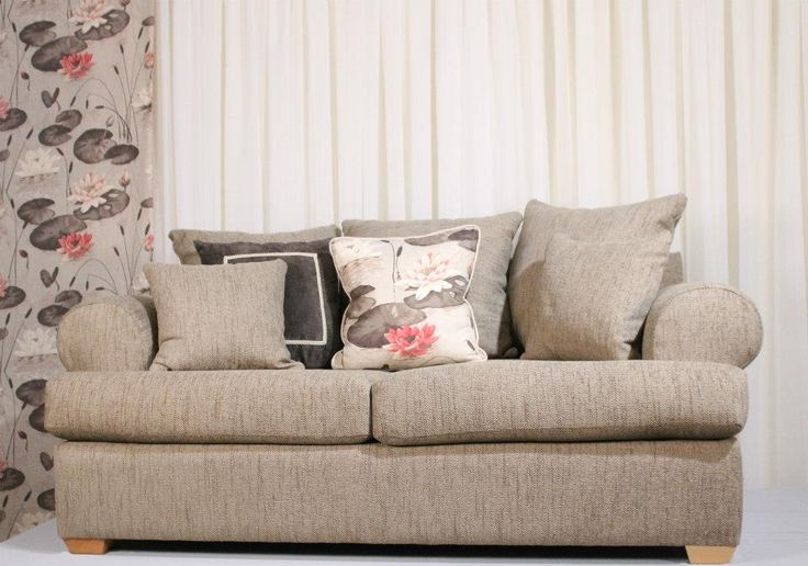 2 seater in Minnie Papyrus With cushions in Lily Brown & Rogers Brown Curtains in Lily Brown