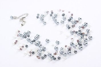 """Petite Bella Pearls – Jewel Online Delicate grey blue pearls on nylon layers that create a """"bubble effect"""" 45cm plus 2.5cm extension chain $69.90"""
