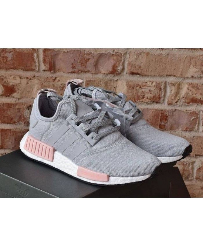 Adidas Nmd R1 Womens Raw Pink White Light Grey Trainers Cheap Sale Grey Trainers Nmd Adidas Women Casual Shoes Women