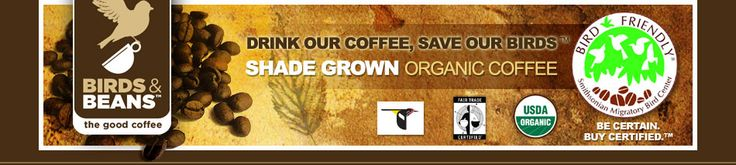 Why not support #conservation efforts and #birds (both migratory and not) by switching the type of coffee you drink to Birds & Beans. This #coffee is certified as bird friendly by the Smithsonian Migratory Bird Center. It tastes great and will be a great step toward helping the birds too! Learn more and purchase coffee here!