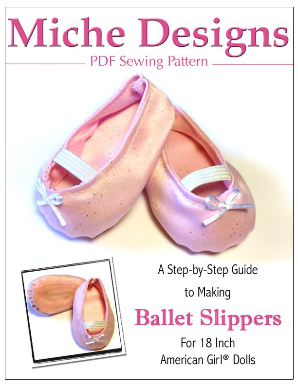 Ballet Slippers 18 inch Doll Shoe Pattern PDF Download | Liberty Jane Doll Clothes Patterns For American Girl Dolls