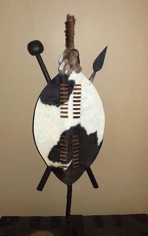 African Tribal Art - black and white Nguni hide Zulu shield