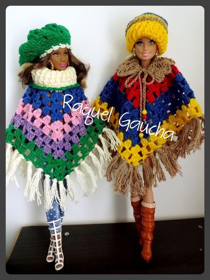 #Barbie #Poncho #Gorro #Boina #Doll #Muñeca #Cléa5 #Crochet #RaquelGaucha