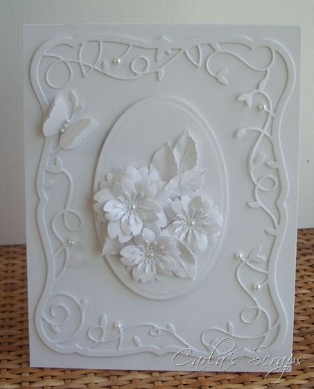 White card, White Flowers, Cherry Blossom Punch, Memory Box Twirling Vine Frame, Memory Box Debutante Frame, MS BFly, Oval Spellbinders,: