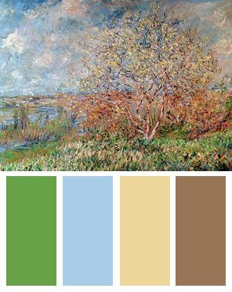 Vivid Nature Color Palette (Spring art print by Claude Monet)