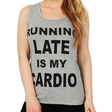 'Running Late' Slogan Vest Top