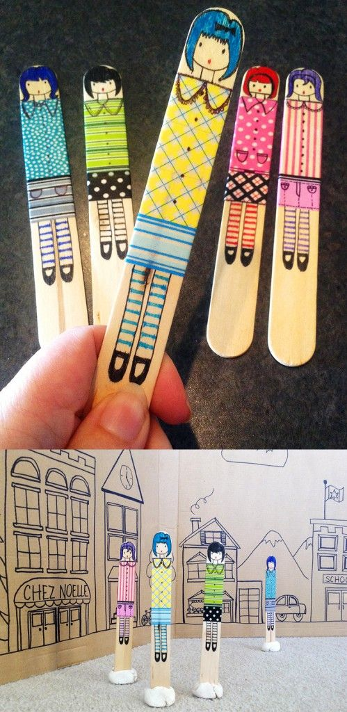 Craft Stick Dolls. Great craft for kids. @Lauren Davison Davison Davison Hanson those sticks I gave you are kind of small for this but I think you could be creative with this