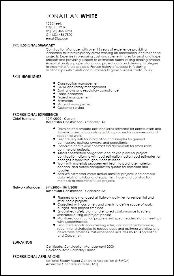 Free Professional Construction Resume Templates Resume Now In 2020 Resume Templates Resume Template Manager Resume