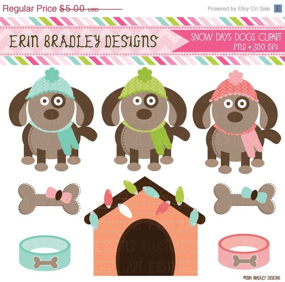 50 OFF SALE Snow Day Dogs Winter Clipart by ErinBradleyDesigns, $2.50