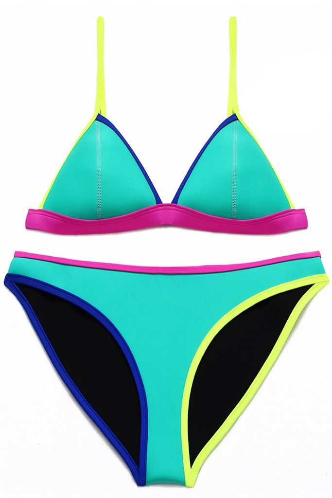 5e0a5bb367 #turquoise Contrast Trim Back Closure #Neoprene Triangle #swimwear Set -  Cobuny