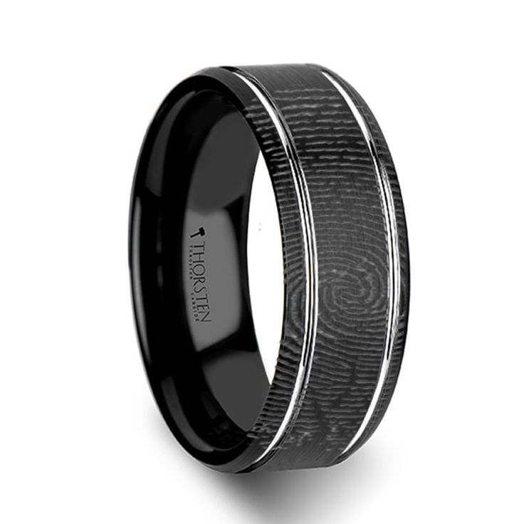 For him Fingerprint Engraved Flat Black Tungsten Ring with Brushed Finish 6