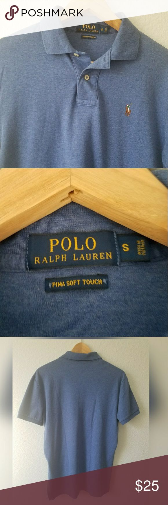 Friday Sale🎉 Ralph Lauren blue polo Ralph Lauren blue polo prima soft touch. This polo has a longer back side than font. Measurments 24 inches in the front from shoulder to bottom and 26 inches in the back from shoulder to back bottom. The size is small measures 20 inches from armpit to armpit. Worn once by my husband now it's too small for him. Polo by Ralph Lauren Shirts Polos