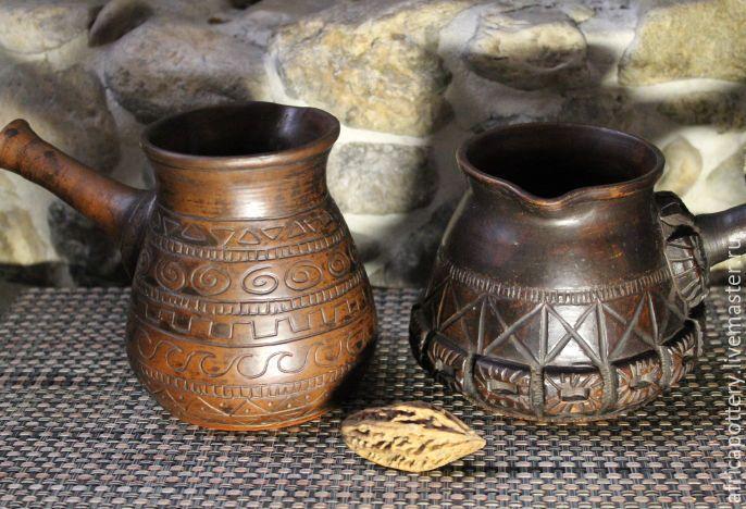 Купить Турка керамическая - коричневый, глина, кофе, посуда, турка, кофейник, заварник, Керамика, подарок