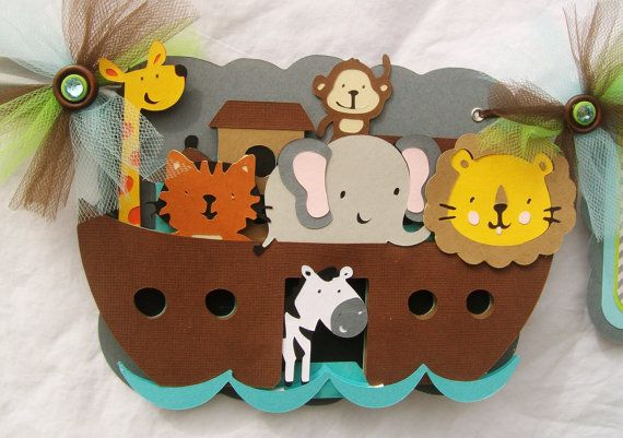 Noah's ark baby shower banner gender by NancysBannerBoutique,