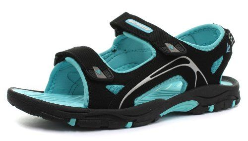 Dunlop Black Pu Nubuck 2 Bar Velcro 518 Womens Sports Sandals Size 5 *** Want additional info? Click on the image.