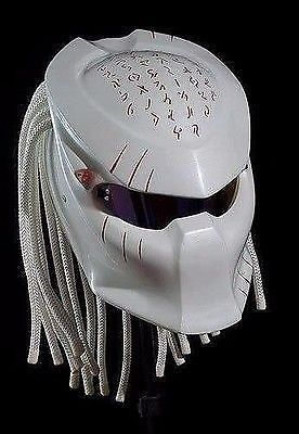 THE GREAT ALIEN PREDATOR HELMET CUSTOM WHITE STYLE DOT APPROVED #CELLOS #Predator