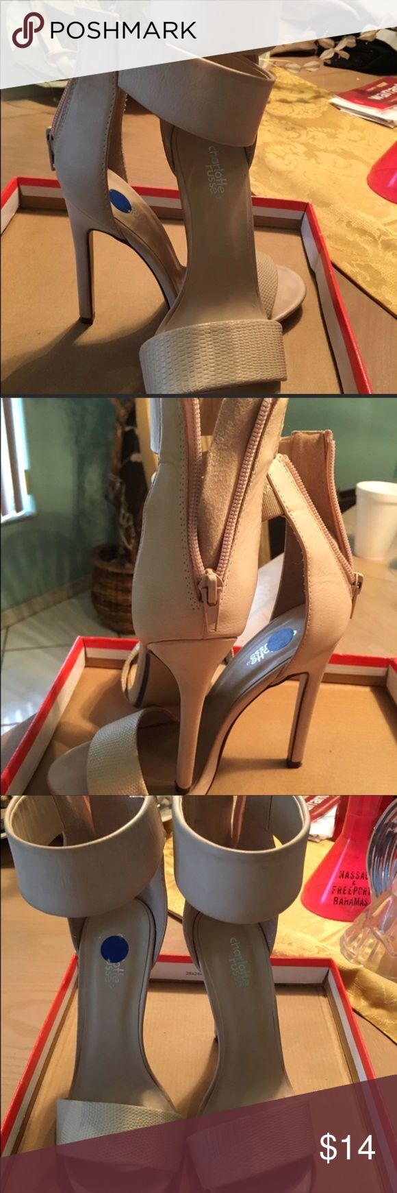 Charlotte Rouse high heel only worn once. Charlotte Rouse tan heels only worn once. In excellent condition comes with box. Shoes Heels
