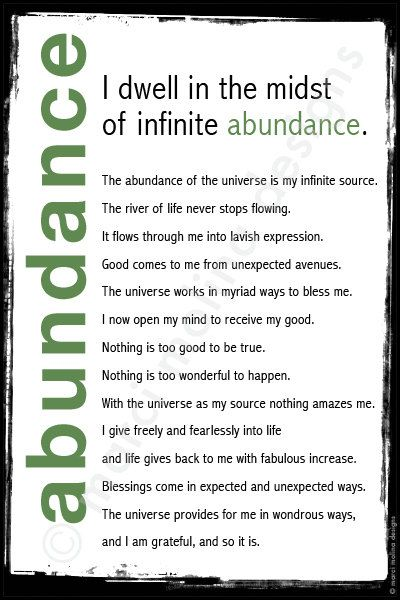 abundance mantra, framed words of wisdom by MarciMolinaDesigns