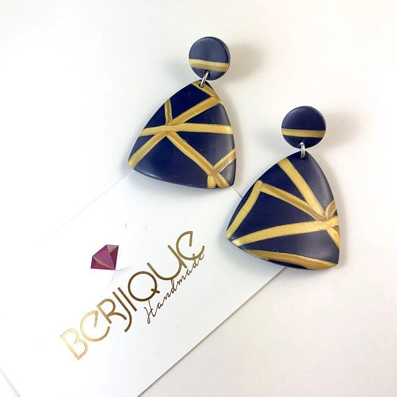 Navy and gold polymer clay dangle drop earrings triangle