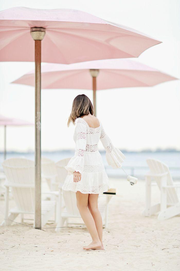 Cool Chic Style Fashion: Fashion Inspiration: White Lace Dress in Sugar Beach Toronto