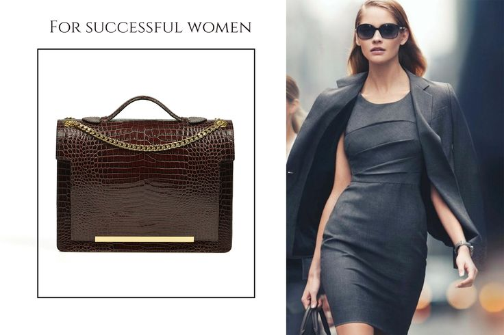 Dark chocolate leather bag with croco effect@wild
