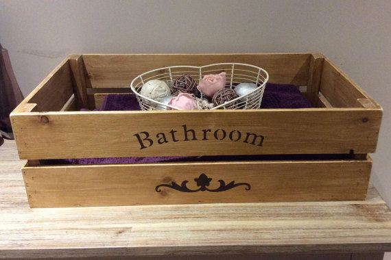 Bathroom storage crate apple crate wooden crate by countrycratesuk