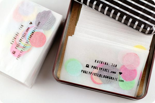 DIY Business/Calling Cards: glassine envelope + confetti + personal stamp