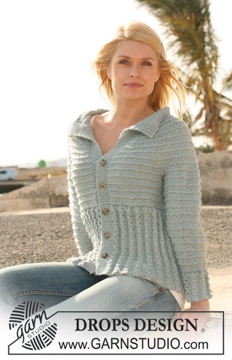 "DROPS jacket in cable pattern and garter st with raglan sleeve in 2 threads ""Alpaca"". Size S - XXXL. ~ DROPS Design"