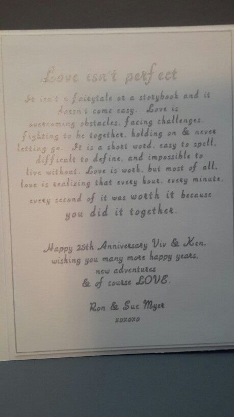 Inside of 25 th anniversary  card