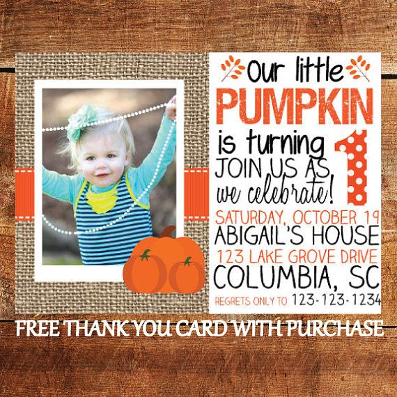 Make your little ones birthday celebration even more memorable with these pumpkin / fall themed birthday party invitations! FREE thank you card now