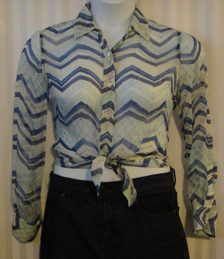 Lucky Brand sheer chevron stripe blouse available now at ChicCentSations eBay Store.